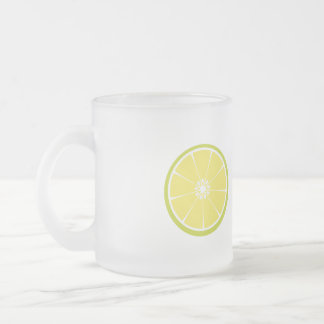half of a lime frosted glass coffee mug