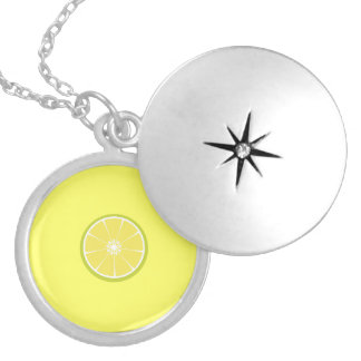 half of a lime round locket necklace
