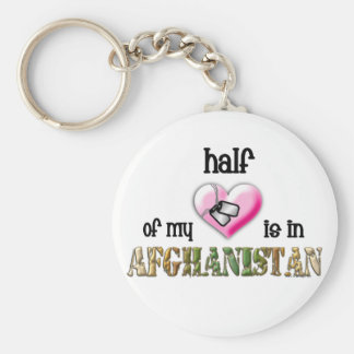 half of my heart...afghanistan 2 basic round button keychain