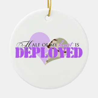 Half of my heart is deployed Double-Sided ceramic round christmas ornament