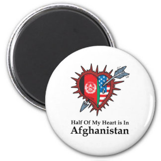 Half Of My Heart Is In Afghanistan 2 Inch Round Magnet