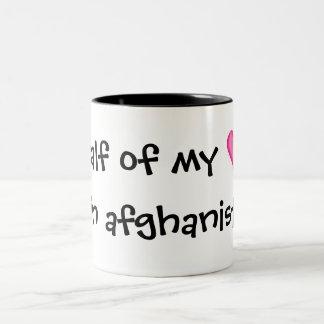 Half of my heart is in afghanistan Two-Tone coffee mug