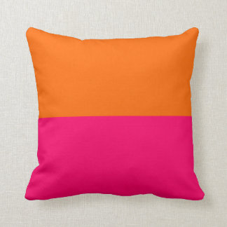 Half Orange and Bright Pink Throw Pillow