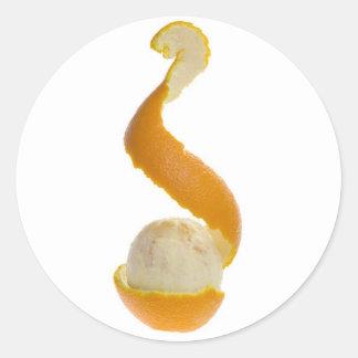 Half peeled orange classic round sticker