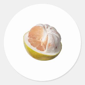 Half peeled pomelo classic round sticker