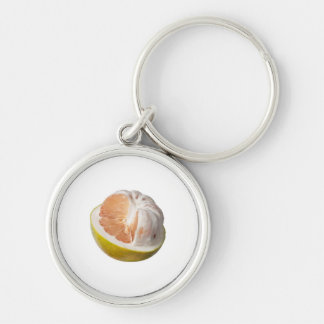 Half peeled pomelo Silver-Colored round keychain