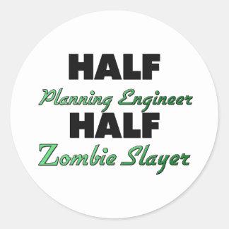Half Planning Engineer Half Zombie Slayer Classic Round Sticker