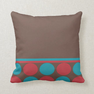 Half Polka Dot Pillow - red and blue