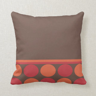 Half Polka Dot Pillow - red and orange