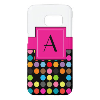 Half Polka Dots on Black With Monogram on Pink Samsung Galaxy S7 Case