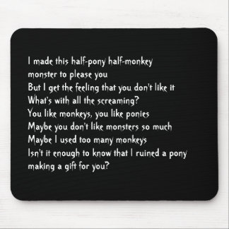 half-pony half-monkey monster mouse pad