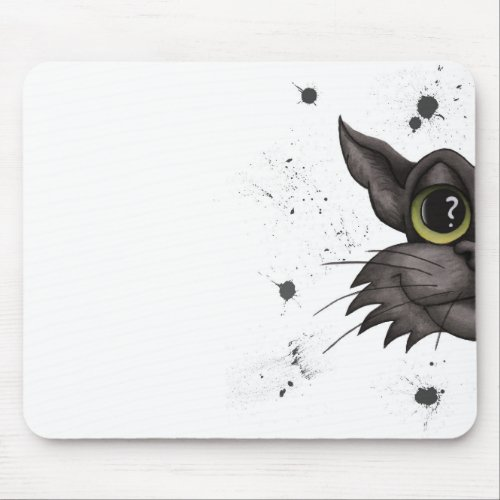 Half portrait of the black cat _ watercolor mouse pad