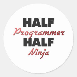 Half Programmer Half Ninja Classic Round Sticker