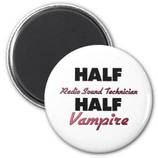 Half Radio Sound Technician Half Vampire 2 Inch Round Magnet