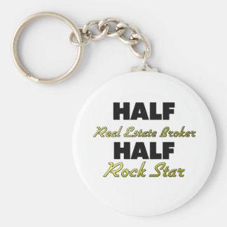 Half Real Estate Broker Half Rock Star Basic Round Button Keychain