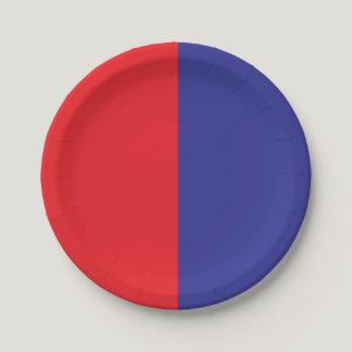 Half Red / Half Blue Paper Plate
