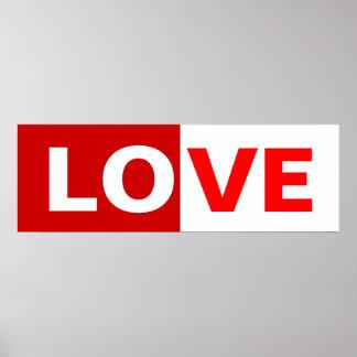 half red/ half white love word poster
