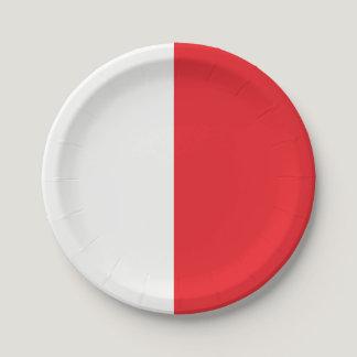 Half Red / Half White Paper Plate