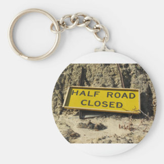 Half Road Closed Basic Round Button Keychain