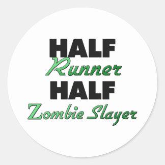 Half Runner Half Zombie Slayer Round Stickers