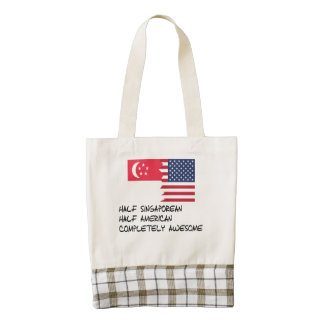 Half Singaporean Completely Awesome Zazzle HEART Tote Bag
