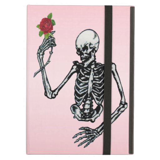 Half Skeleton Raised Arm Holding Red Rose on stem Case For iPad Air