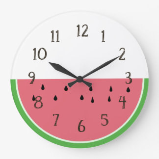 Half Slice Pink Watermelon Clock with numbers