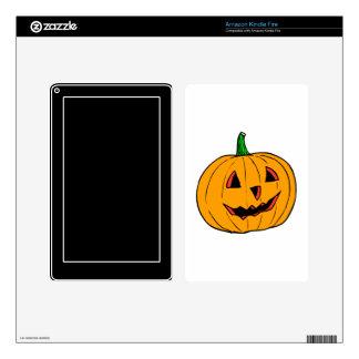 Half smiling pumpkin jack o lantern kindle fire skin