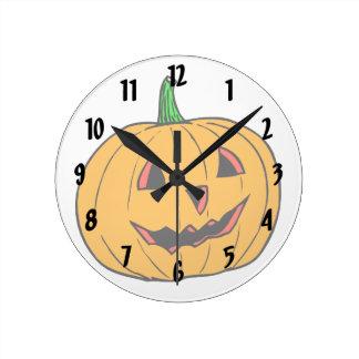 Half smiling pumpkin jack o lantern round wall clocks