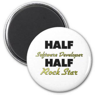 Half Software Developer Half Rock Star 2 Inch Round Magnet