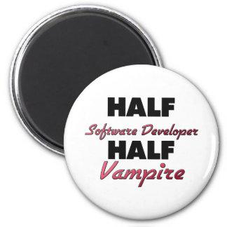 Half Software Developer Half Vampire 2 Inch Round Magnet