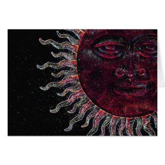 Half Sun Face Design Greeting Card