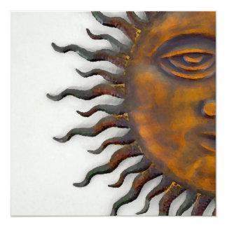 Half Sun Face Design 5.25x5.25 Square Paper Invitation Card