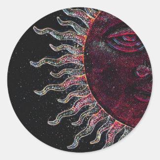 Half Sun Face Design Classic Round Sticker