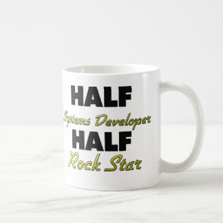 Half Systems Developer Half Rock Star Classic White Coffee Mug