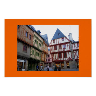 Half-timbered Buildings in Vannes, France Poster