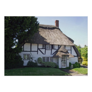 Half-Timbered Thatched Cottage Print