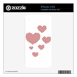 HALF-TONE HEARTS RED WHITE SKIN FOR THE iPhone 4S