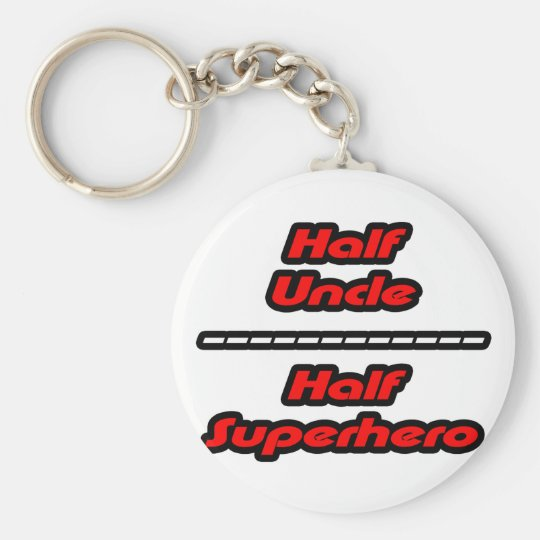 Half Uncle Half Superhero Keychain