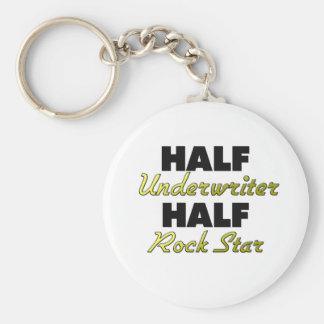 Half Underwriter Half Rock Star Basic Round Button Keychain
