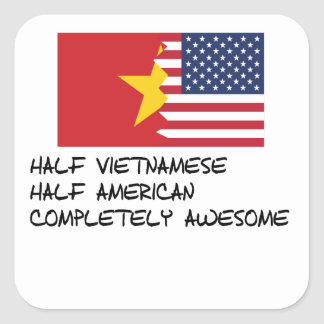 Half Vietnamese Completely Awesome Square Sticker