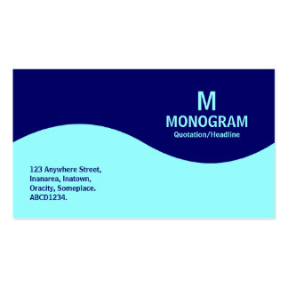 Half Wave Monogram - Ice Blue and Navy Blue 000066 Business Card Template