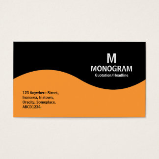 Half Wave Monogram - Light Orange with Black Business Card