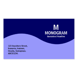 Half Wave Monogram - Navy Blue with Patel Blue Business Card Templates