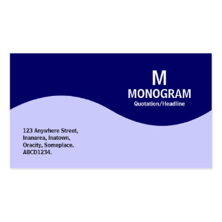 Half Wave Monogram - Navy Blue with Powder Blue Business Card Template