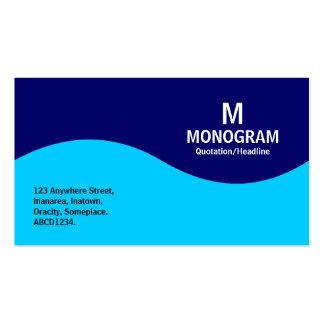 Half Wave Monogram - Sky Blue and Navy Blue 000066 Business Card