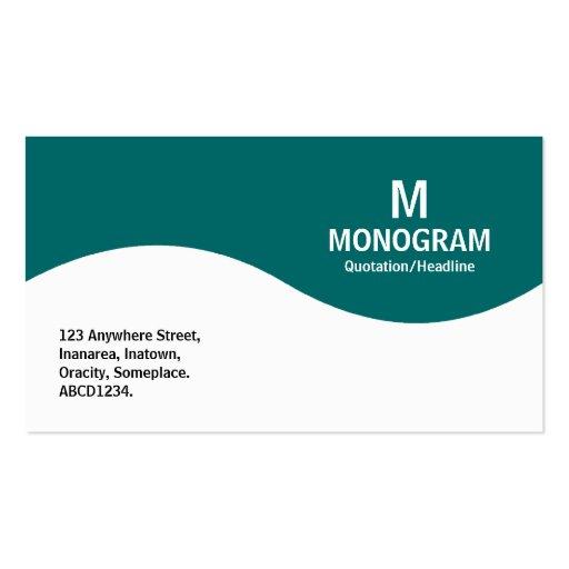 Half Wave Monogram - Teal Green 006666 Business Card Template