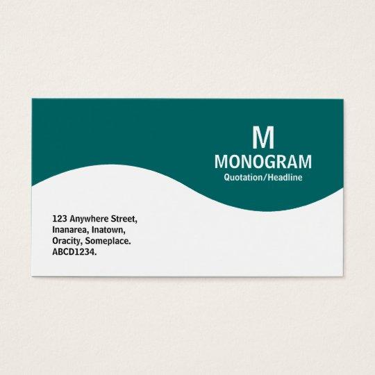 Half Wave Monogram - Teal Green 006666 Business Card