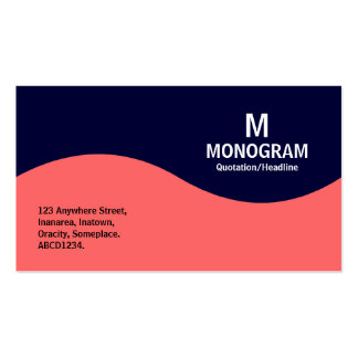 Half Wave Monogram - Tropical Pink with Dark Navy Business Card Templates