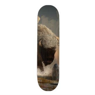 Half White Bison Skateboard Deck